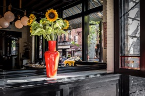 "Sunflowers in the open window of ""The Dutch"" restaurant in New York City South Village"