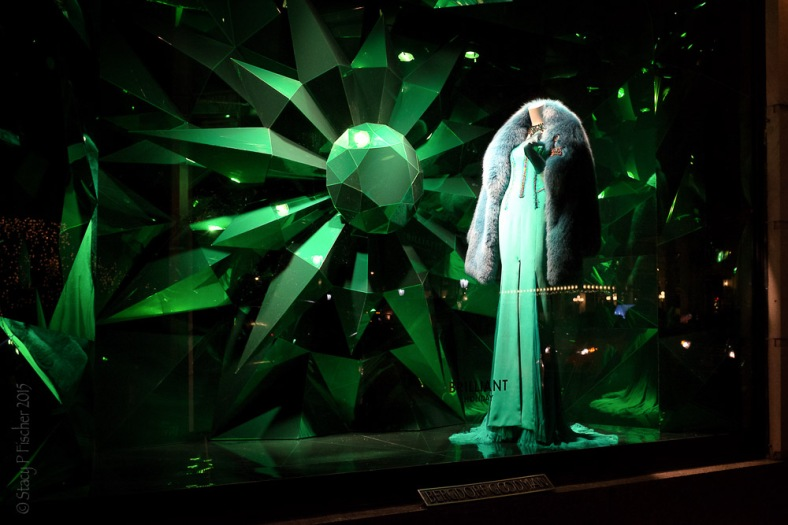 "Bergdorf Goodman 2015 Christmas Window green ""Brilliant Holiday"""