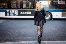 Urban woman wearing fashionable diamond-patterned stockings