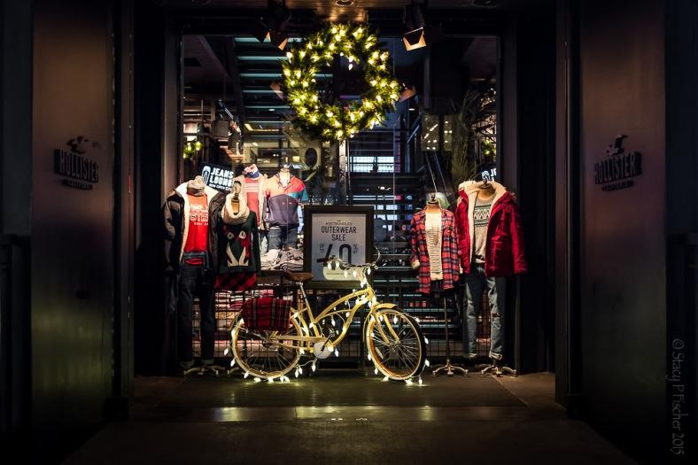 Hollister New York City Christmas holiday window display
