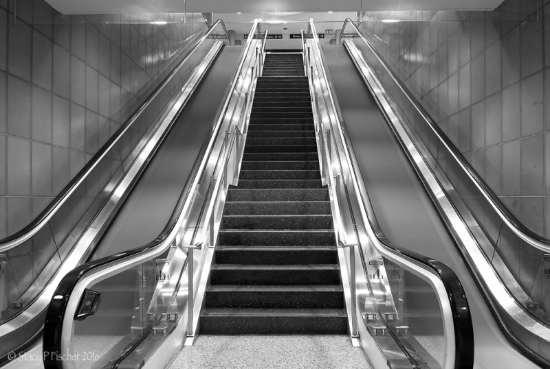 Blurred motion of escalator steps