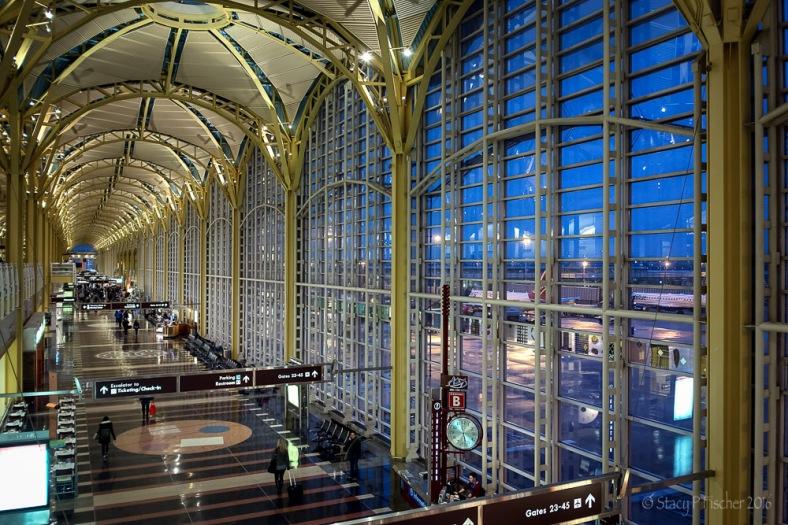 National Airport Terminal C Interior, twilight