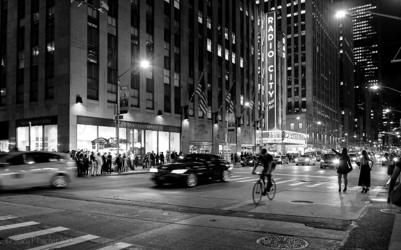 Street action after Radio City Music Hall show, Avenue of the Americas, New York City