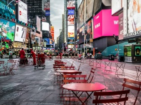 Setting up Times Square at dawn.