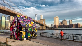 Tom Fruin's stained glass house installation Brooklyn Bridge Park
