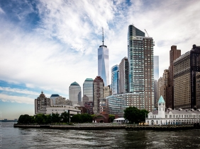 View of Freedom Tower from Statue Cruises boat south of Battery Park