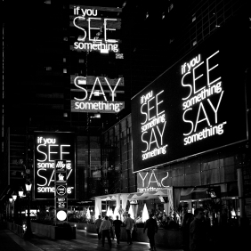 """See Something Say Something"" signs at LA Live"