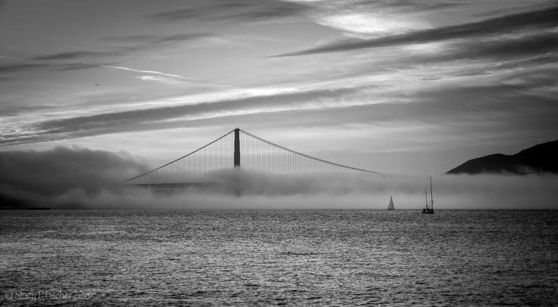 Fog pours over Golden Gate Bridge