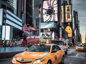 Times Square sunrise with Yellow taxi
