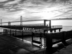 Sunrise Pier 14 and Oakland Bay Bridge San Francisco