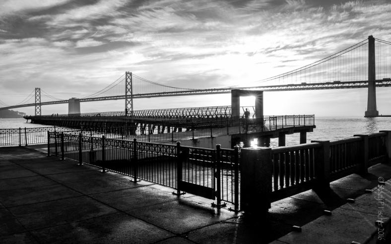 Sunrise Pier 14 and Oakland Bay Bridge San Francisco