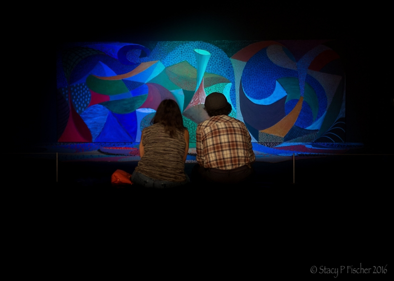 Snails Space by David Hockney viewed by two museum visitors