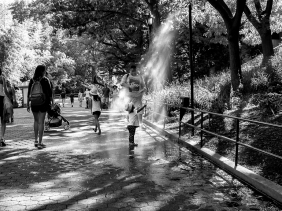 Cooling off in a water mister in a local park