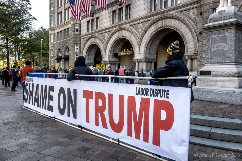 """Shame on Trump"" banner outside Trump International Hotel Washington DC"