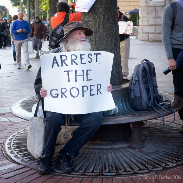 """Arrest the groper"" protestor at Trump International Hotel Washington DC protest"