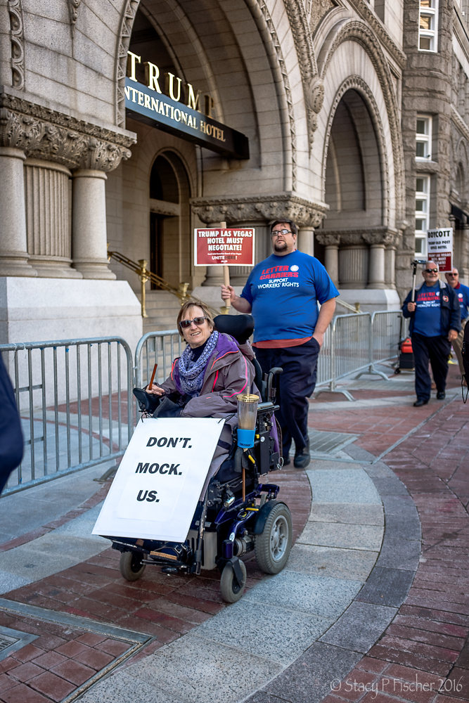 Wheelchair-bound protestor at Trump International Hotel Washington DC