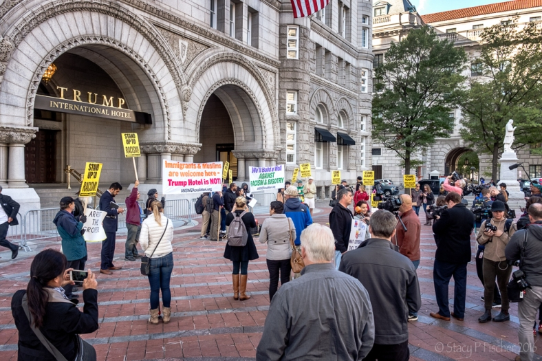 Protestors at Trump International Hotel Washington DC